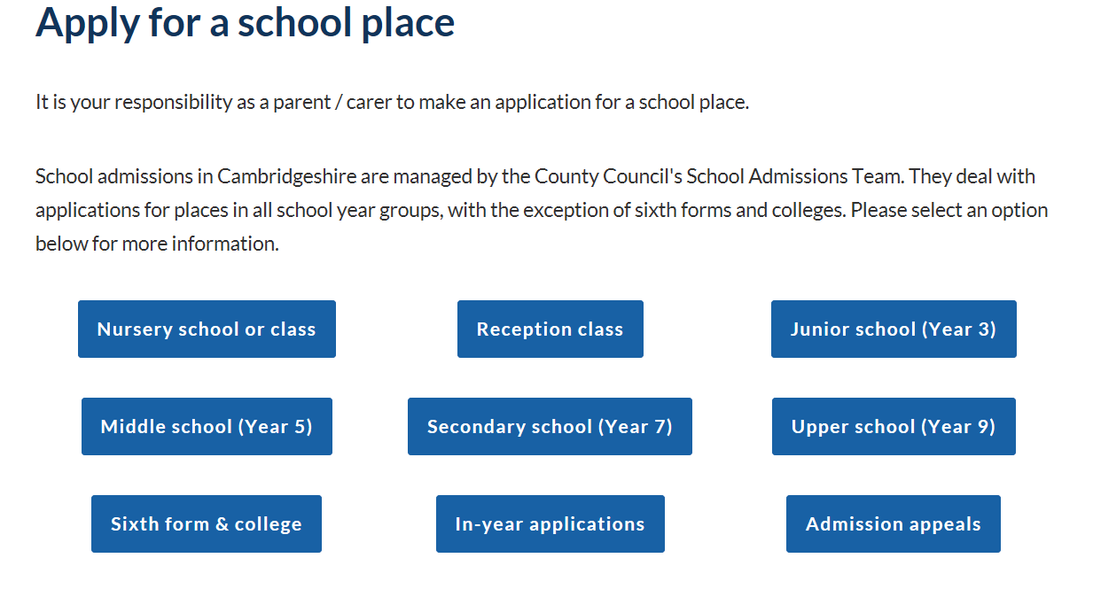Apply for a school place